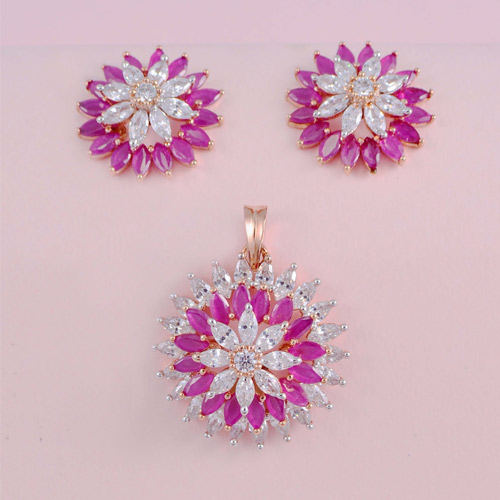 Designer Pink Pendant Set With Earrings