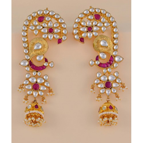 Traditional Long Kundan Earrings