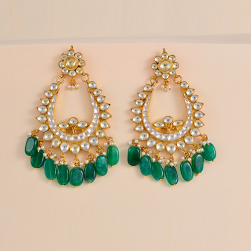Traditional Emerald Kundan Pearl Earrings