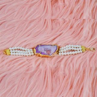 Indo-WesternPearl Voilet Stone Bracelets