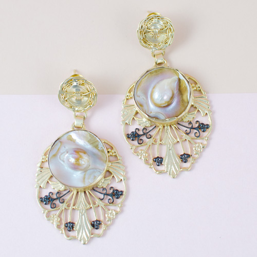 Indo-western pearl stone earrings