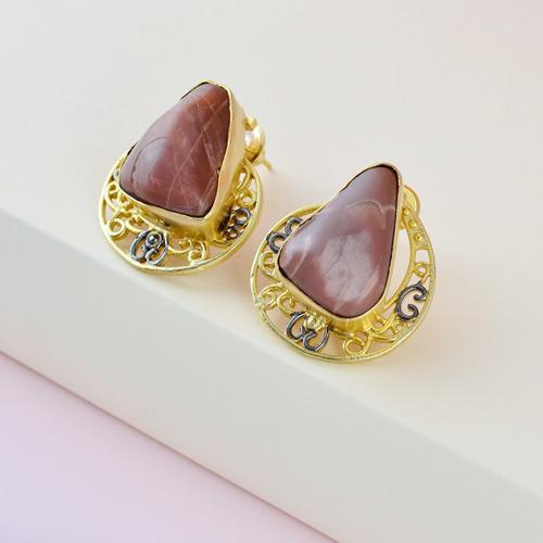 Designer peach moon stone earrings
