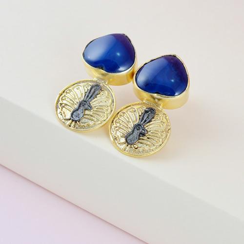 Designer blue lapis stone earrings