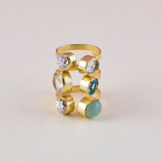 Indo-western Retro Punk Natural Stone Turquoise Gold Plated Multilayer Ring