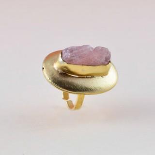 Designer cetrine stone brass ring