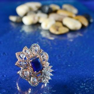 Blue Stone Flower Shape AD Rings