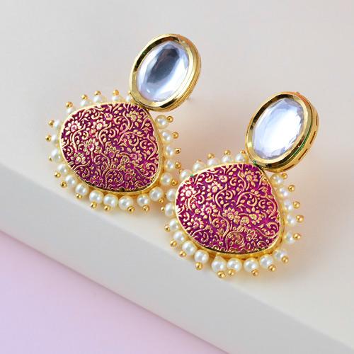 Kundan stone Hot Pink Earrings Teardrop Dangle Earrings