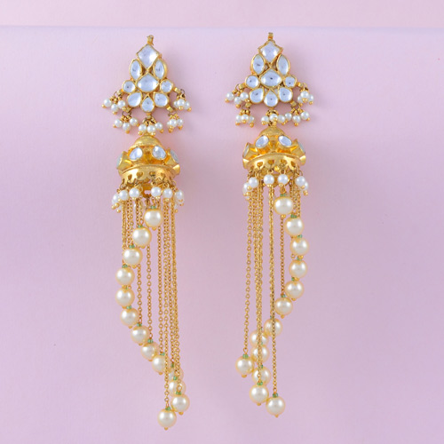 Traditional Gold Color Kundan Earrings