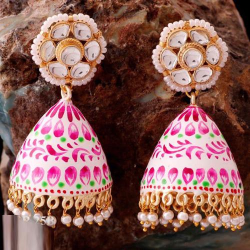 Traditional Handmade Brass Based Hand Painted Jhumki Earring