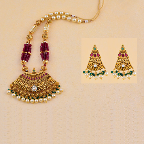 Traditional Long Antique Necklaces With Earring