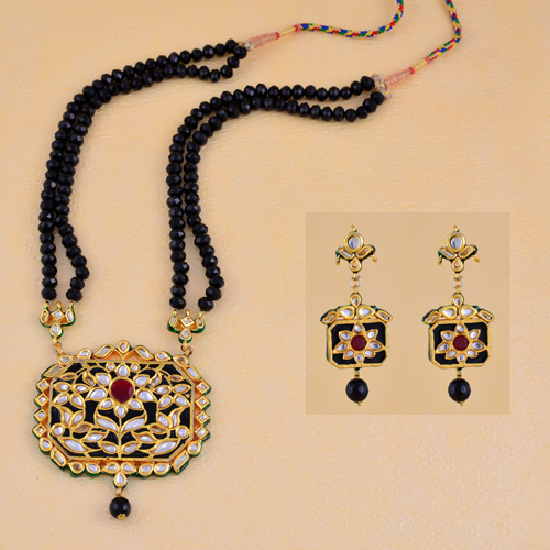 Traditional Long Kundan Necklaces With Earrings