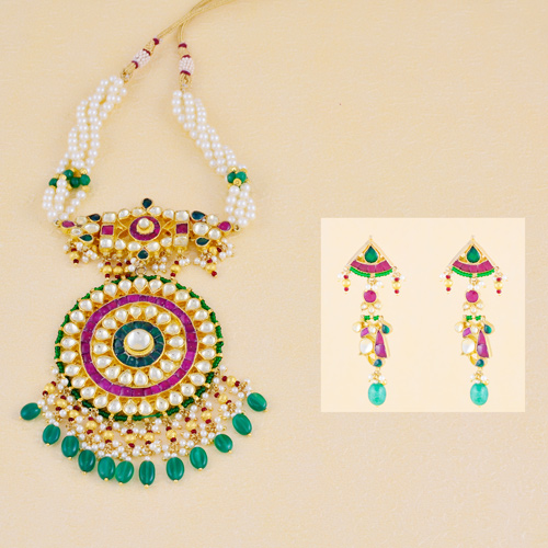 Traditional Green and Ruby Color Kundan Necklaces With Long Earrings