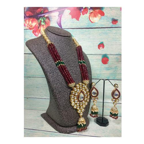 Traditional Kundan long necklace set  With Long Earrings