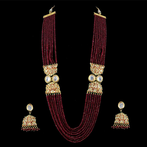Traditional Long beads necklace with jhumki Earrings