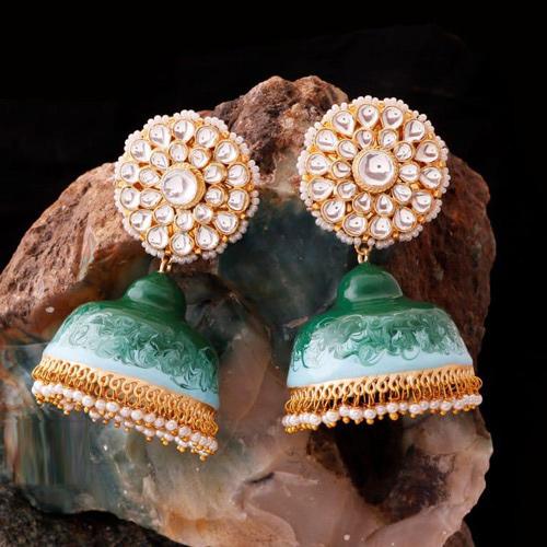 Traditional Handmade Brass Based Hand Painted green Jhumki Earring
