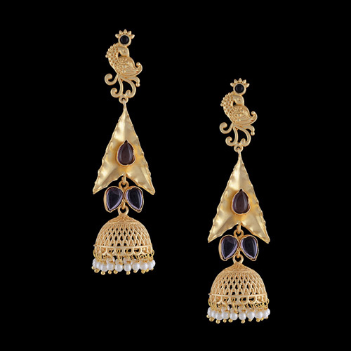 Traditional Blue color gold plated Earrings