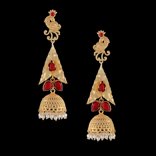Traditional Red color gold plated Earrings